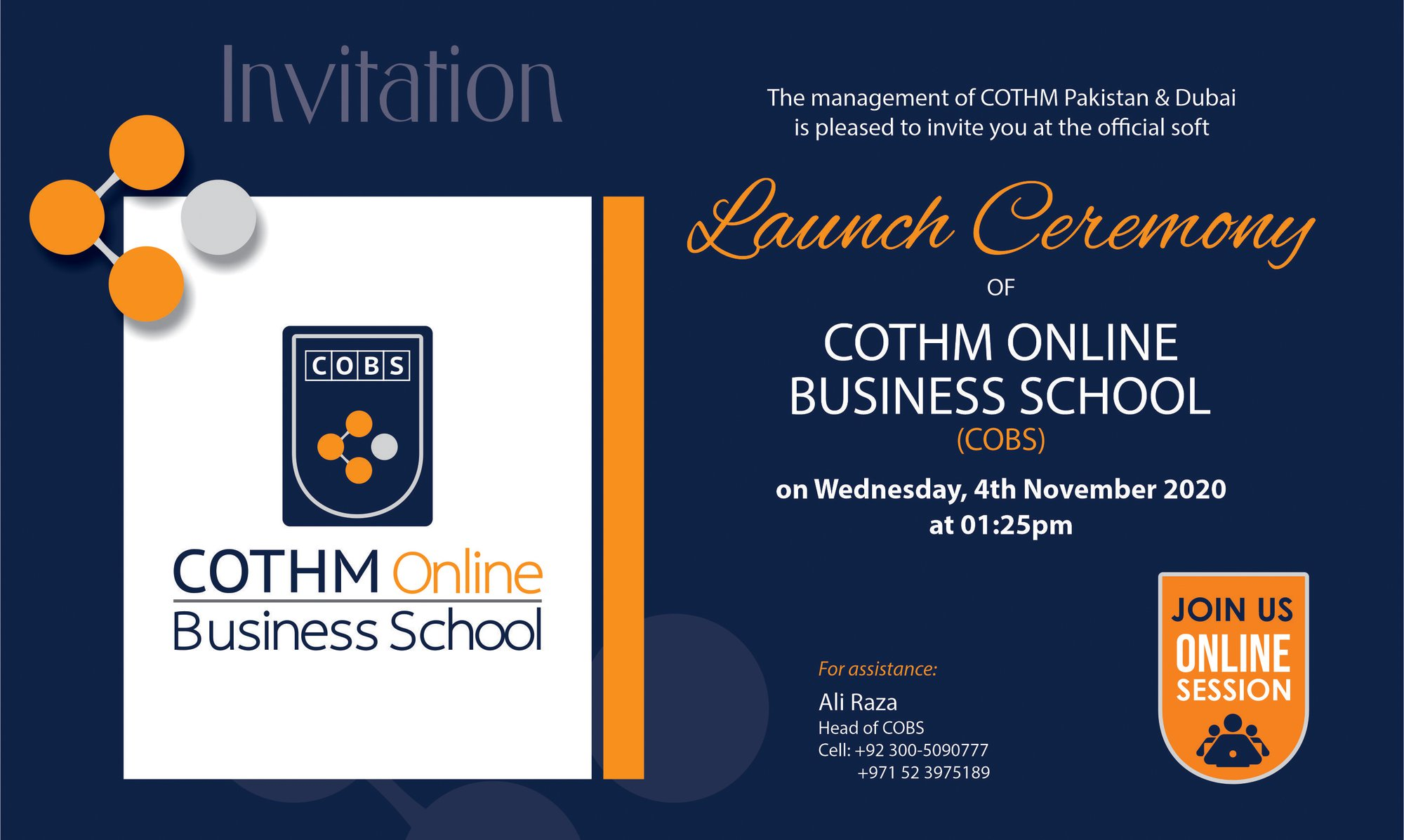 Join LIVE soft launch of COTHM Online Business School